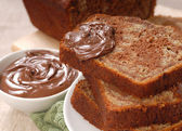 Banana and chocolate nut bread with Nutella — Stock Photo