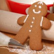 Making delicious gingerbread men — Stock Photo #7609277