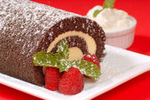 Christmas Buche de Noel cake — Stock Photo