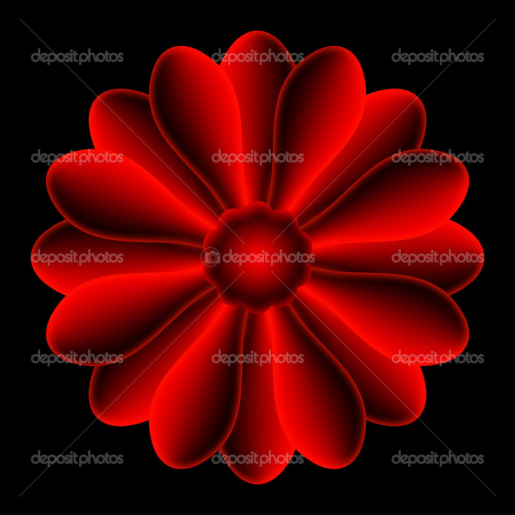 The red flower shape, centered on black background. — Foto de Stock   #6874756
