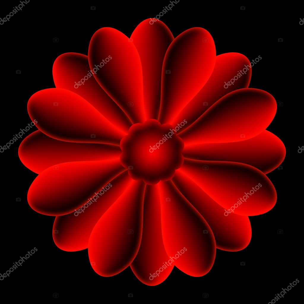 The red flower shape, centered on black background.  Stock Photo #6874756