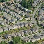 Houses on Hillside - Aerial — Stock Photo