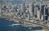 Downtown Seattle and Ferry at Dock — Stock Photo