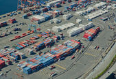 Freight Trucks Leaving Large Port — Stock Photo