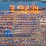 Freight Trucks Leaving Large Port — Stock Photo