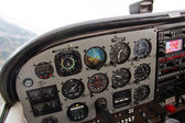 Pilot View of Complex Instrument Panel of Airplane — Stock Photo
