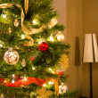 Side View of Christmas Tree and Lamp — Stock Photo