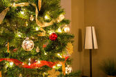 Side View of Christmas Tree and Lamp — Стоковое фото