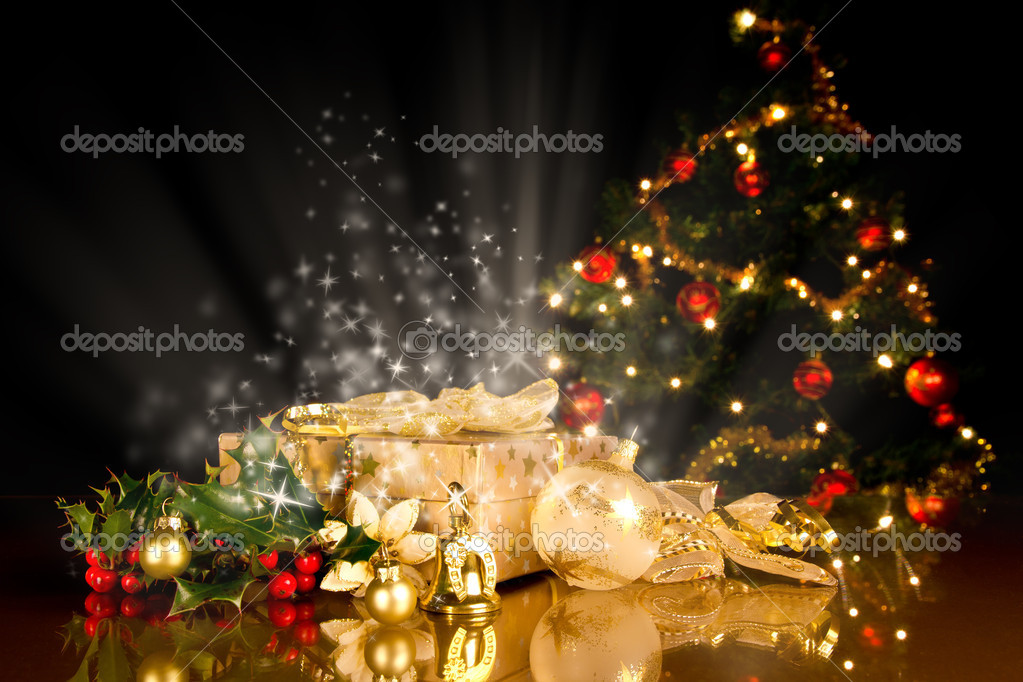Christmas still life with gifts and tree  Stock Photo #7310023