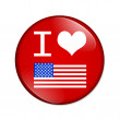 I love USA button — Stok fotoğraf