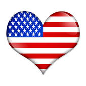 I love USA heart shaped button — Stock Photo