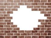 Patrón con falta de ladrillos de la pared de ladrillo — Foto de Stock