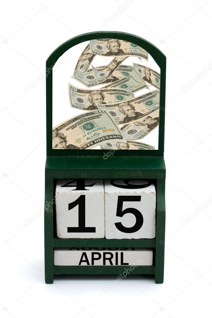 A wooden calendar with a date of April 15 and a bunch of money, Tax Day — Stock Photo #7320286