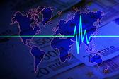 Euro pulse on world — Stock Photo