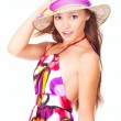 Happy young girl wearing a hat in summer — Stock Photo