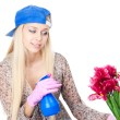 Young blonde woman with gardening — Stock Photo #6926012