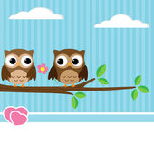 Owl couple — Stock Vector