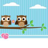 Owl couple — Stock Vector