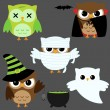 Stock Vector: Halloween owls