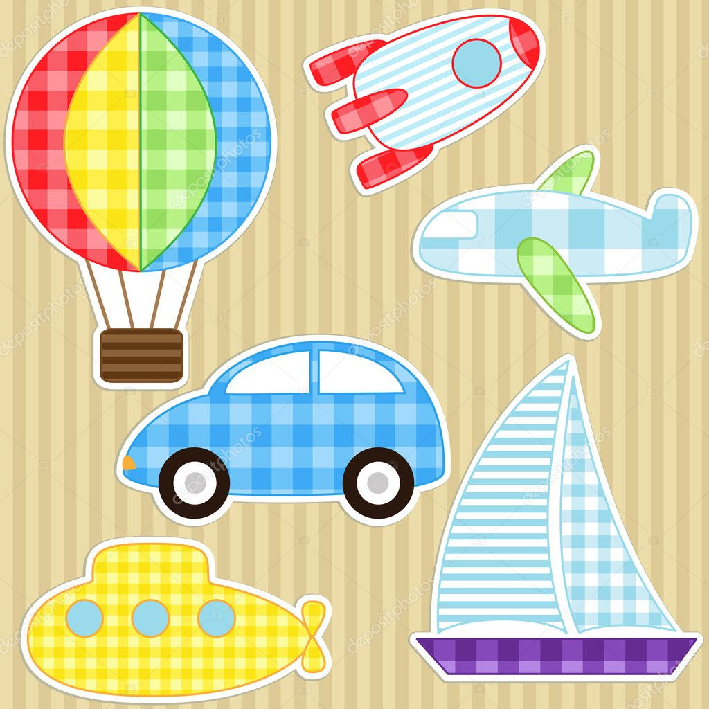Set of cute vector colorful transport stickers — Stock Vector #6951188