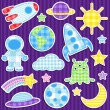 Stok Vektör: Space stickers