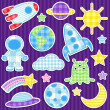 Space stickers - Stok Vektör