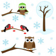 Set of winter elements - Stock Vector