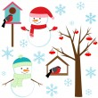 Stock Vector: Set of winter elements