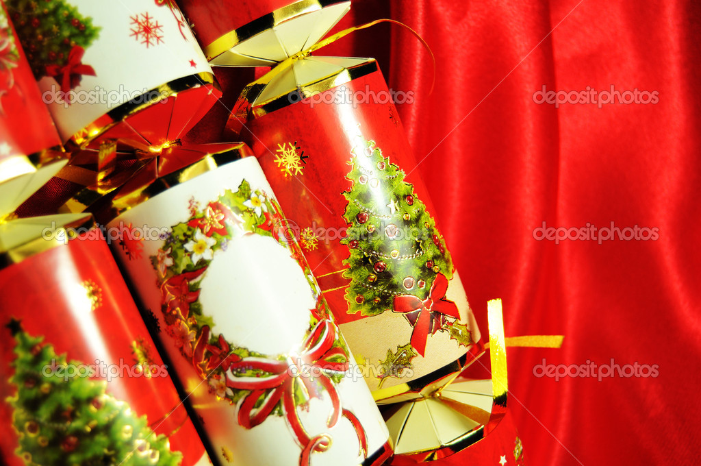 Christmas crackers background ready for holidays — Stock Photo #6796853