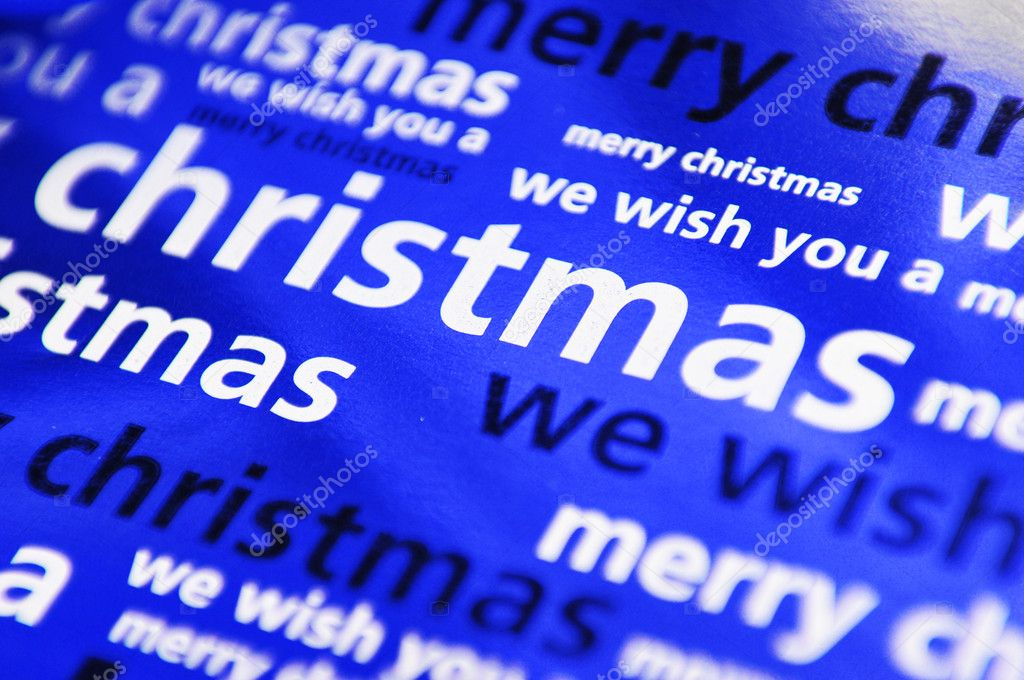 Blue shiny background with Christmas related words — Stock Photo #6800676