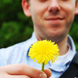 Young man offering a flower — Stock Photo
