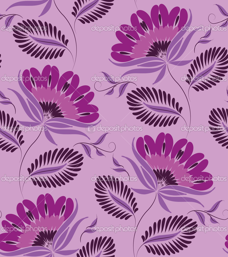 Flowers on a lilac background. Floral design, in vintage style. Seamless pattern. — Stock Vector #6811559
