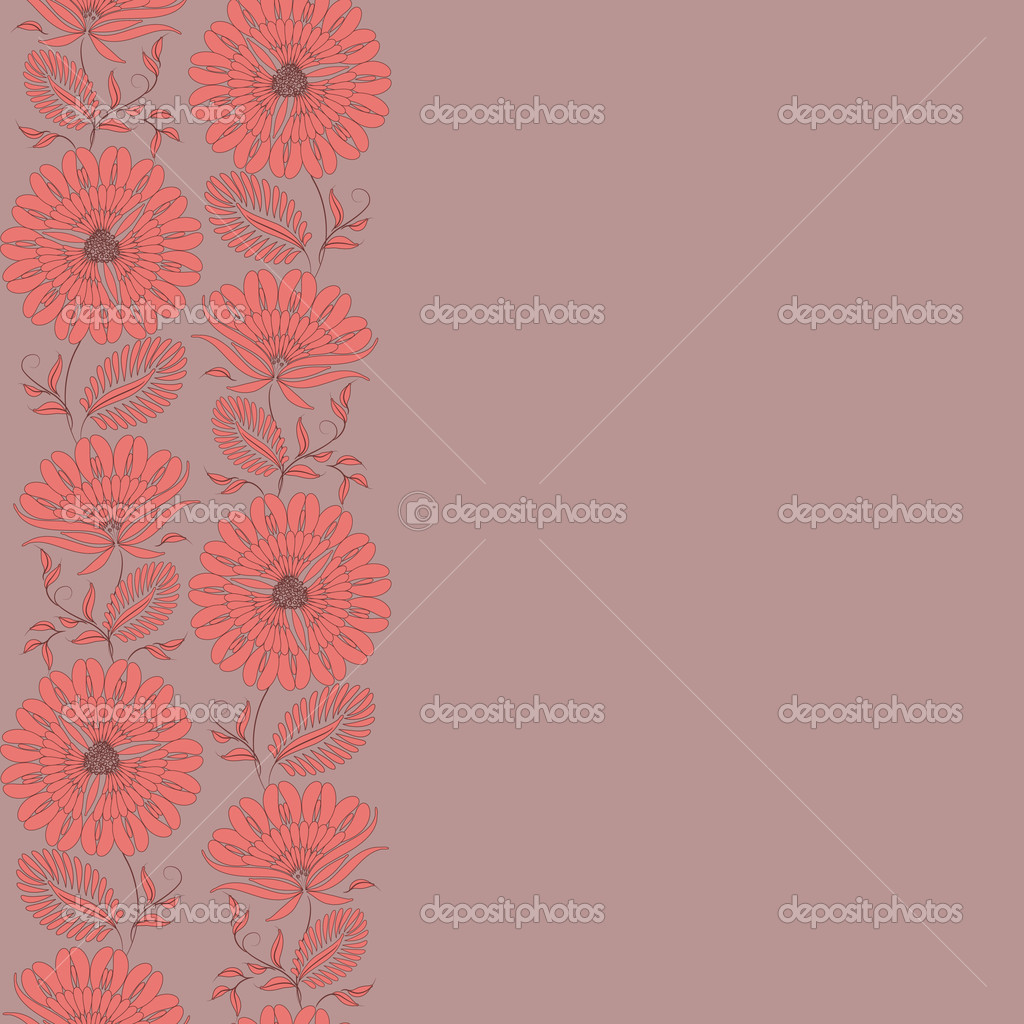 Flowers on a background. Floral design, in vintage style. Seamless pattern. — Stock Vector #6811910