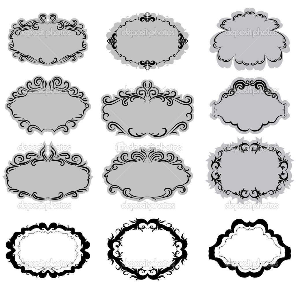 Set of ornate vector frames . In vintage style. Basic elements are grouped. — Stock Vector #6811978