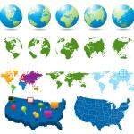 地图和全球集 — 图库矢量图片