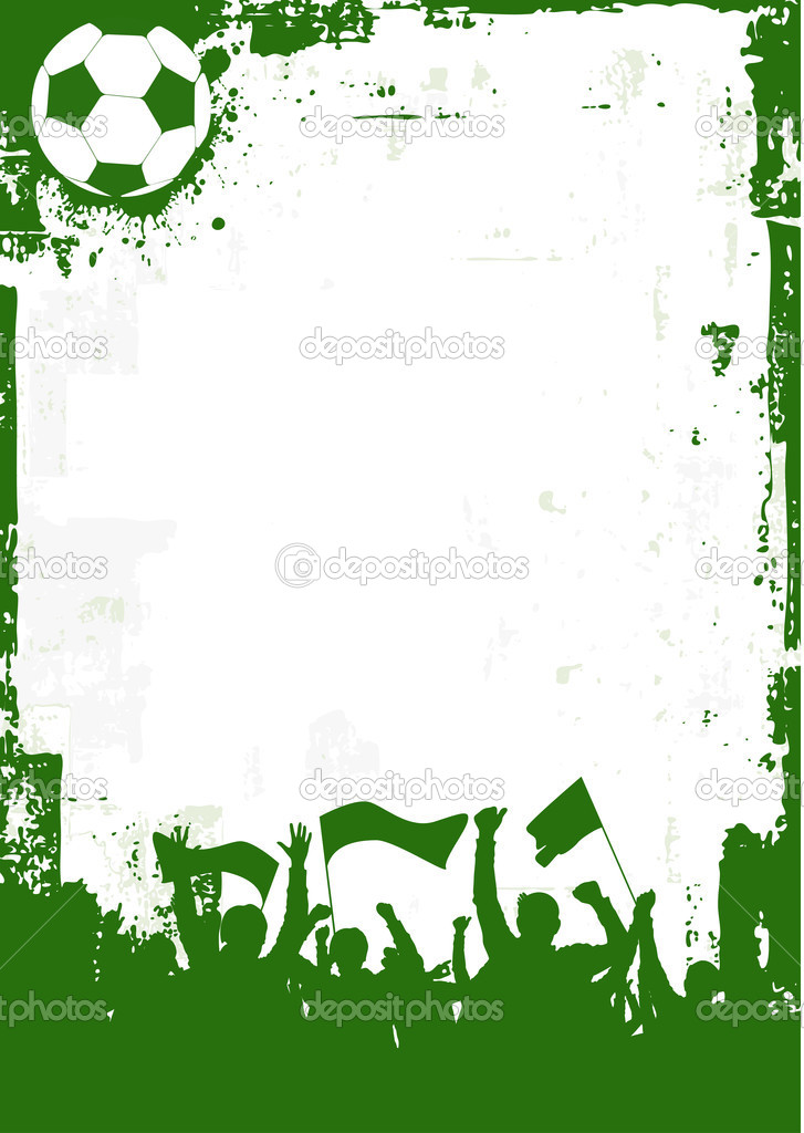Silhouette of an excited soccer fans on a grunge style background.  Stock Vector #7380867