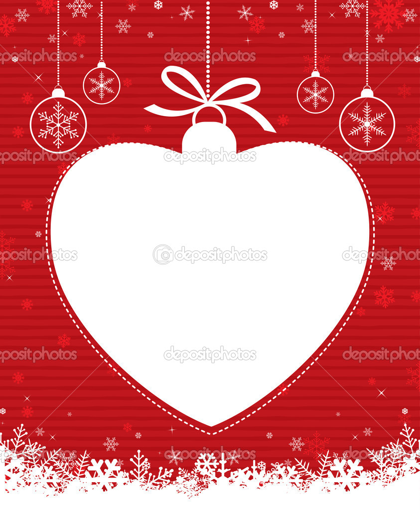 Christmas ball with heart on red patterned background... — Stock Vector #7951857