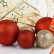 Royalty-Free Stock Photo: Gold and red Christmas baubles.