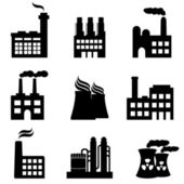 Industrial buildings, factories and power plants — Stock Vector