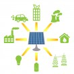 Solar panel generating alternative energy — Stock Vector #7277815
