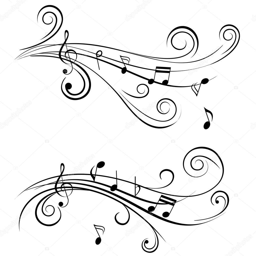 Ornamental music notes with swirls on white background — Stock Vector #7408479