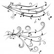 Stock Vector: Music notes on staff