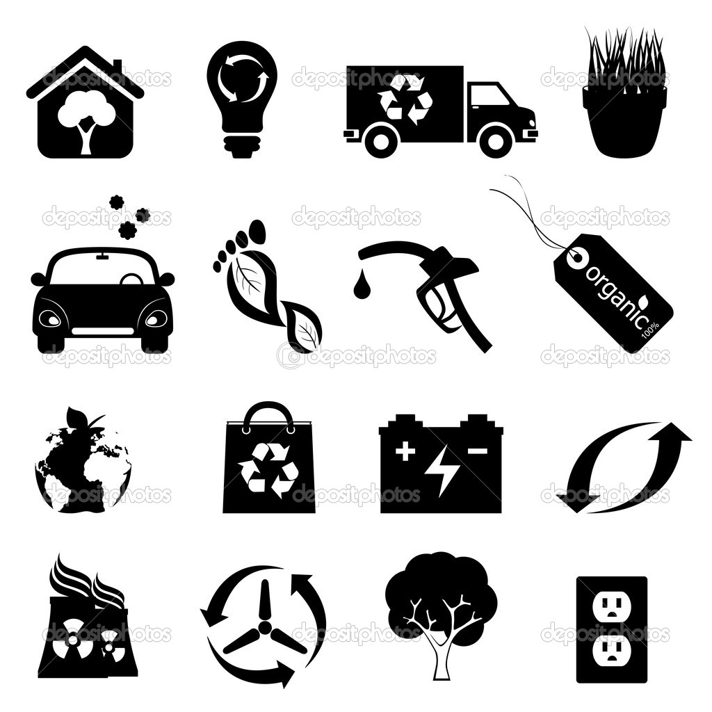 Recycling, clean energy and environment icons — Stock Vector #7830320