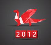 Rote Vektor Drachen 2012 — Stockvektor