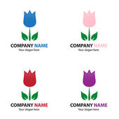 Collection of flower logo — Stock Vector