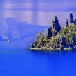 Stock Photo: Phantom Ship Island Boat Crater Lake Reflection Blue Sky Oregon