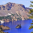 Stock Photo: Phantom Ship Island Crater Lake Reflection Blue Sky Oregon