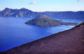 Wizard Island Blue Crater Lake Black Rim Oregon — Stock Photo