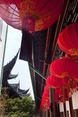 Red Lanterns Jade Buddha Temple Jufo Si Shanghai China — Stock Photo