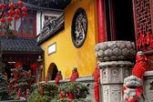 Jade Buddha Temple Doorway Lanterns Ribbons Jufo Si Shanghai Chi — Stock Photo